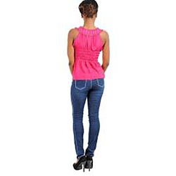 Stanzino Women's Fuchsia Drawstring Sleeveless Top