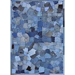 Hand Stitched Beaufort Denim Blue Pockets Cotton Rug 7 6