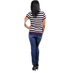 Stanzino Women's Plus-size Purple/Grey Striped Top - Thumbnail 1