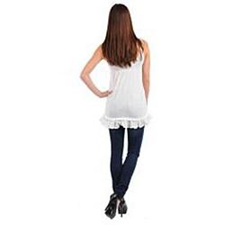 Stanzino Women's Plus-size Ivory Sleeveless Babydoll Top - Thumbnail 1