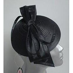 Swan Hat Women's Black Satin Ribbon Cocktail Fascinator - Thumbnail 1