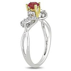 Miadora 14k Two-tone Gold 3/8ct TDW Pink and White Diamond Ring - Thumbnail 1