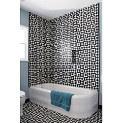 Granada Tile Echo Collection Fez B Black and White Cement Tile (Sample) - Thumbnail 1