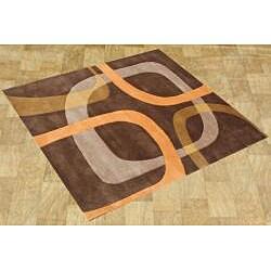 Handmade Chocolate Brown Wool Rug (6' Square)