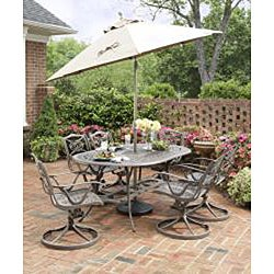 Home Styles Malibu Cast Aluminum Taupe 7-piece Outdoor Dining Set - Thumbnail 1