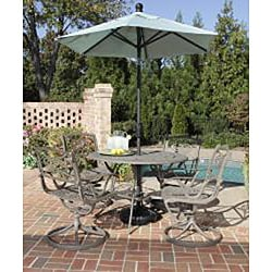 Home Styles Malibu Cast Aluminum Taupe 5-piece Outdoor Dining Set - Thumbnail 1