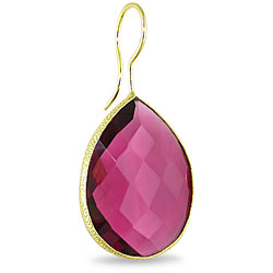 Miadora 22k Gold Overlay 28ct TGW Rhodolite Dangle Earrings - Thumbnail 1