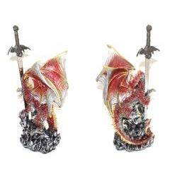 Red Dragon Figurine with Stainless-steel Sword Letter Opener - Thumbnail 1