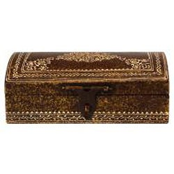 Antique Bronze Finish Embossed Keepsake Box With Clasp (India)