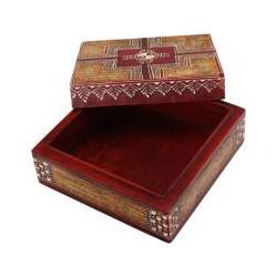 Deep Red Embossed Calligraphy Design Keepsake Box (India) - Thumbnail 1