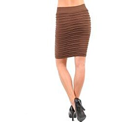 Stanzino Women's Brown Wrinkle Seamless Skirt - Thumbnail 1