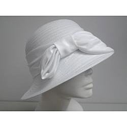 Swan Women's White Satin Bow Crushable Bucket Hat - Thumbnail 1