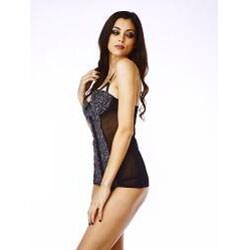 Playboy Women's 'Elise' Charcoal Leopard Push-up Babydoll Set
