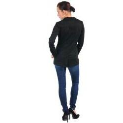 Stanzino Women's Black Collared Jacket - Thumbnail 1