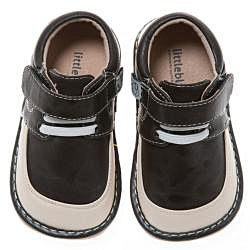 Little Blue Lamb Toddler Brown Leather Squeaky Shoes
