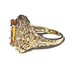 California Girl Jewelry Pre-owned 14k Yellow Gold Yellow Sapphire Art Deco Filigree Ring - Thumbnail 1