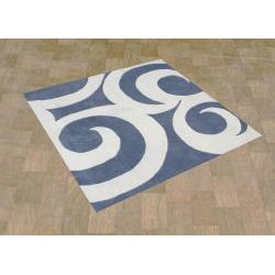 Hand-tufted Rings Grey Blue Wool Rug (6' Square) - Thumbnail 1