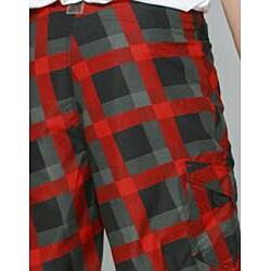 Zonal Men's 'Content' Black/ Red Plaid Boardshorts - Thumbnail 1