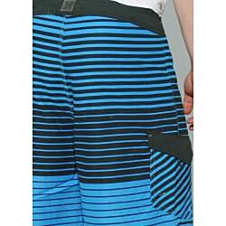 Zonal Men's 'Lineup' Blue Stripe Boardshorts - Thumbnail 1
