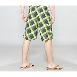 Zonal Men's 'Content' Green Plaid Boardshorts