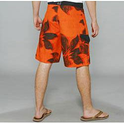 Zonal Men's 'Plantation' Orange Floral Boardshorts - Thumbnail 1