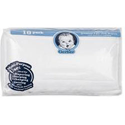 Gerber Prefold Gauze 6-Ply Cloth Diapers with Absorbent Padding (Pack of 10)