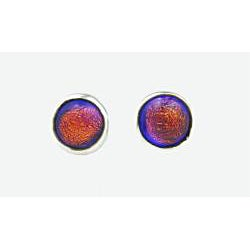 Sterling Silver Pink Dichroic Post Earrings (Mexico) - Thumbnail 1