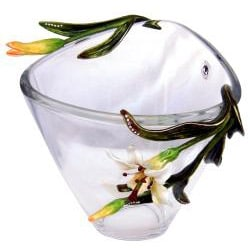 Cristiani Limited Edition Crystal Vase with Pewter Lily