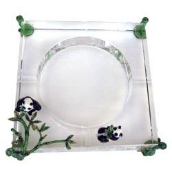 Cristiani Limited Edition Crystal Ashtray with Pewter Pandas - Thumbnail 1