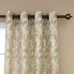 Metallic Vine Grommet 84-inch Curtain Panel Pair - Thumbnail 1