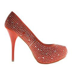 Refresh by Beston Women's 'Alyssa-03' Orange Rhinestone Pumps - Thumbnail 1