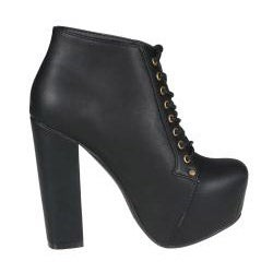 Refresh by Beston Women's 'Dolly-03' Black Chunky Heel Ankle Booties - Thumbnail 1
