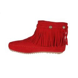 Refresh by Beston Women's 'Mini-01' Red Fringe Ankle Booties