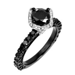 10k White Gold 2 4/5ct TDW Black and White Diamond Halo Ring (G-H, I1-12) - Thumbnail 1