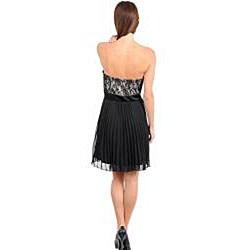 Stanzino Women's Black/ Tan Lace Overlay Chiffon Cocktail Dress