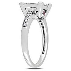 Miadora 14k White Gold 1 ct TDW Princess-Cut Diamond Cluster Ring with Pink Sapphire Accents (H-I, I2-I3) (Size 7)