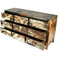 Ecologica Hand Carved Dresser Nine Drawers - Thumbnail 1