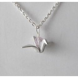 Adrienne Audrey Jewelry Silver Crane Necklace with Pink Crystal - Thumbnail 1