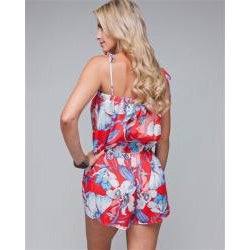 Stanzino Women's Tropical Floral Short Romper - Thumbnail 1