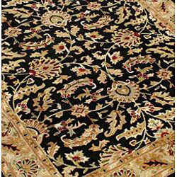 Alliyah Handmade Black New Zealand Blend Wool Ru (5' x 8')