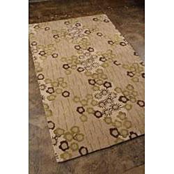 Hand-tufted Beige/ Green Wool Blend Rug (8' x 11')