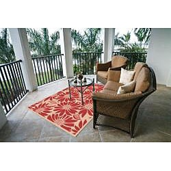Garden Town Collection Red Area Rug (7'10 x 10'3) - Thumbnail 1