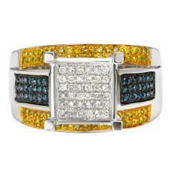 10k White Gold 3/4ct Blue and Yellow Diamond Ring - Thumbnail 1