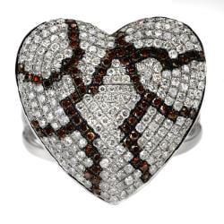 10k White Gold 1ct White and Orange Diamond Heart Ring - Thumbnail 1