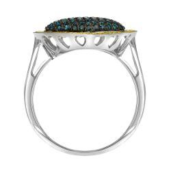 10k White Gold 3/4ct TDW Blue and Yellow Diamond Heart Ring - Thumbnail 1