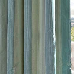 Exclusive Fabrics Signature Stripe Zuma Faux Silk Taffeta Curtain Panel - Thumbnail 1