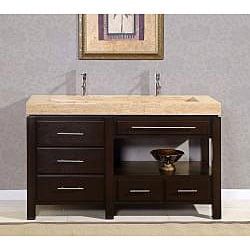 Silkroad Exclusive 60-inch Travertine Stone Vanity - Thumbnail 1