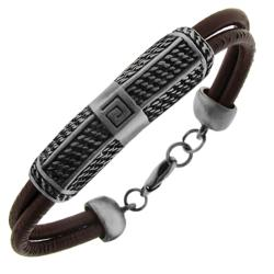 Genuine Leather and Silver Tone Brass Double Cord Genuine Black Leather Bracelet