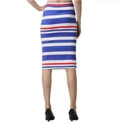 Tabeez Women's Striped High Waist Sheath Skirt - Thumbnail 1
