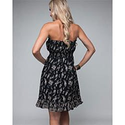 Stanzino Women's Branching Leaves Strapless Black Dress - Thumbnail 1